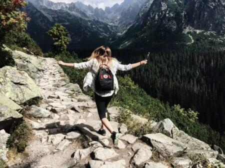 travel, girl, hiking, mountain