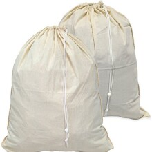 "2 Pack - SimpleHouseware Extra Large 100% Cotton Laundry Bag, Beige (28"" x 36"")"