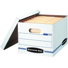 Bankers Box Stor/File Storage Box with Lift-Off Lid, Letter/Legal, 12 x 10 x 15 Inches, White, 4 Pack (0070308)