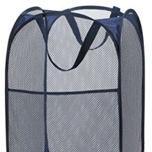 "Mesh Pop-Up Laundry Hamper, Navy Blue - 14"" x 24"" - Easy to open and folds flat for storage. Hampers mesh material helps eliminate laundry odors and moisture. Great laundry hamper for college dorm."
