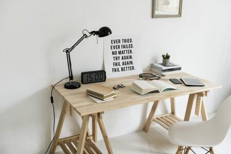desk, light, chair, book, art